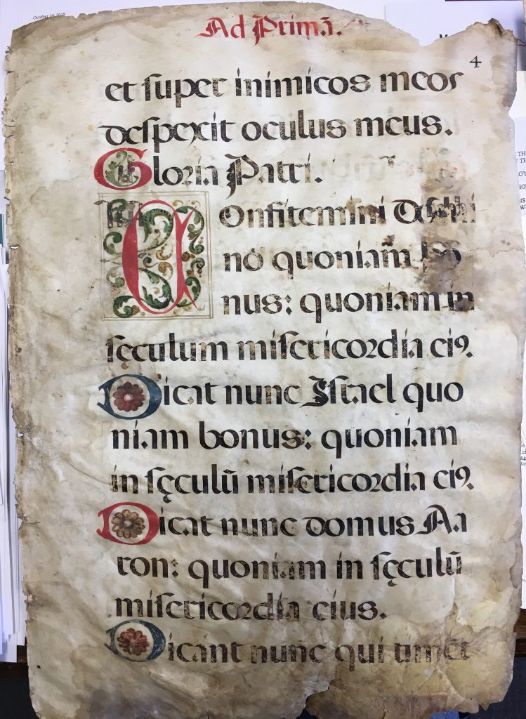 J. S. Wagner Collection, Leaf from from Prime in a Latin manuscript Missal. Folio 4 Recto, with the end of Psalm 53, the title for the Gloria Patri, and the opening of Psalm 117 (118), set out in verses with decorated initials..