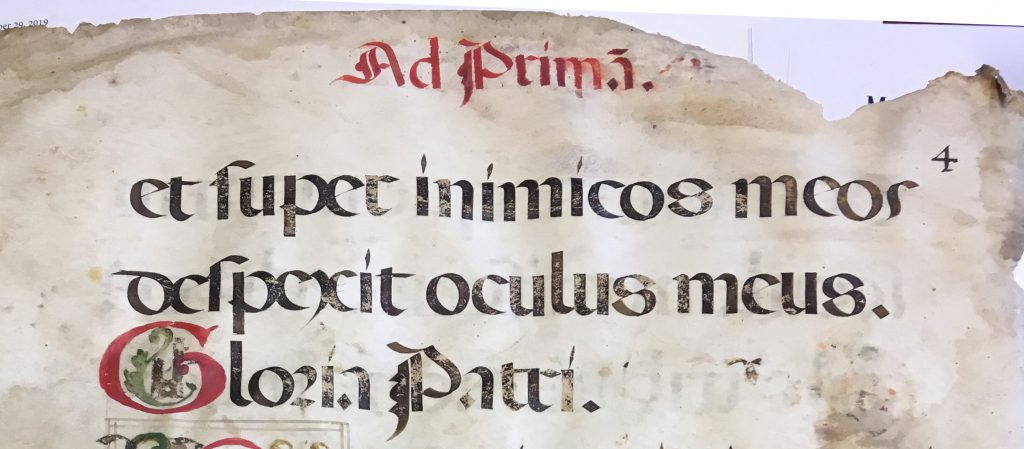 "Leaf from from Prime in a Latin manuscript Missal. Folio 4 Recto, top, with the rubricated running title ""Ad Primam""."