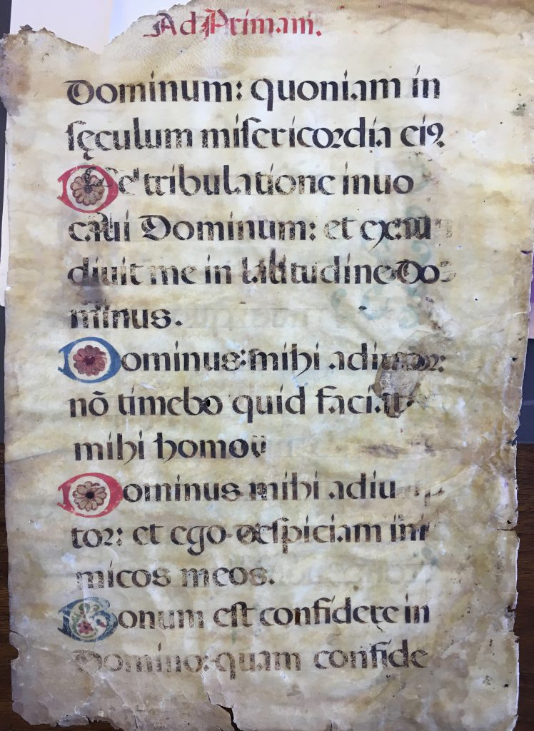 J. S. Wagner Collection. Leaf from from Prime in a Latin manuscript Breviary. Folio 4 Verso, with part of Psalm 117 (118) in the Vulgate Version, set out in verses with decorated initials.
