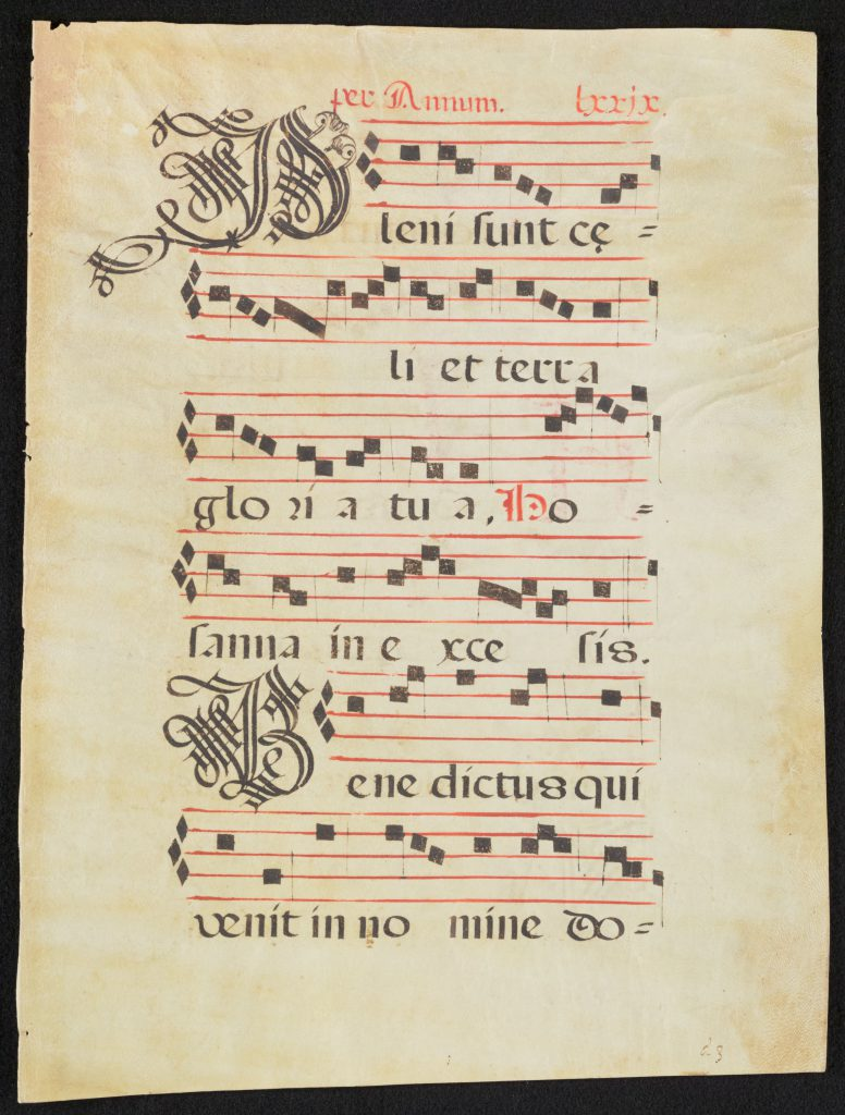 Library of Congress, Music Division, M2.1 XVI M2. Leaf from a 16th-Century Latin Musical Manuscript from Spain, recto. With musical notation on 6 staves, the leaf presents part of the text of the Sanctus in the Roman Catholic Mass.