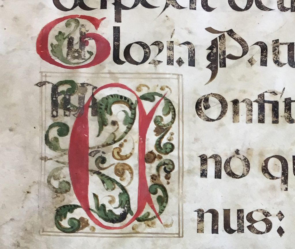 J. S. Wagner Collection. Leaf from from Prime in a Latin manuscript Breviary. Folio 4 Recto, detail. The opening of Psalm 117 (118) in the Vulgate Version. with a framed initial C for Confitimini, decorated wih scrolling foliate ornament.