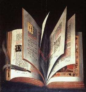 Florence, Galleria degli Uffizi, Anonymous, Still Life, German school of the XVI century, circa 1510, oil on wood, 70.2 × 65 cm. Opened book with fanned leaves showing pages of text and music set out in double columns and adorned with decorated initials and illustrations. Image via Wikimedia, public domain.