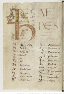 Paris, Bibliothèque nationale de France, MS latin 190, folio 1r. Opening page of the Commentarii notarum tironiarum, with an enlarged initial decorated with interlace and foliate ornament. Image via gallica.bnf.fr.