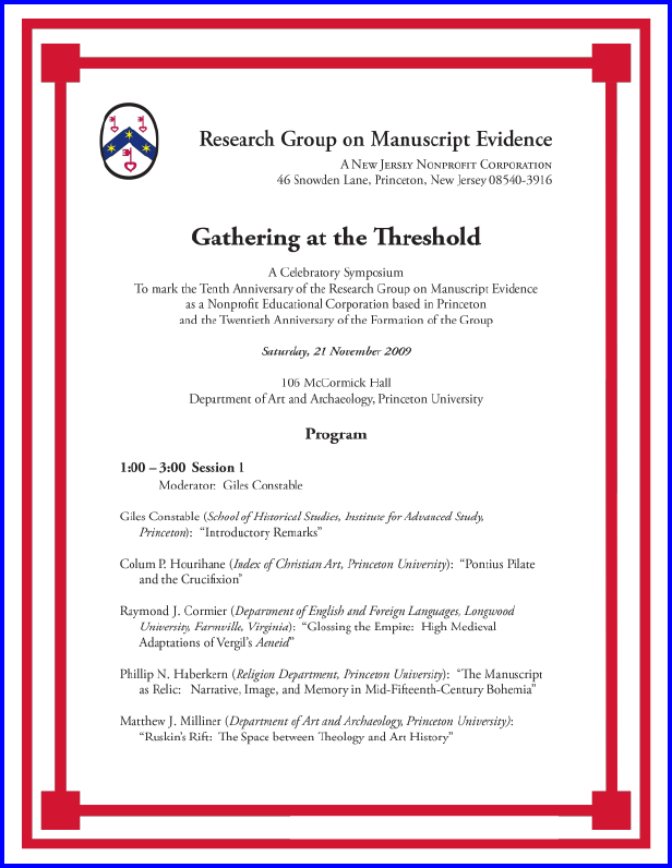 2009 Celebratory Anniversary Symposium Program, Page 1 of 2.