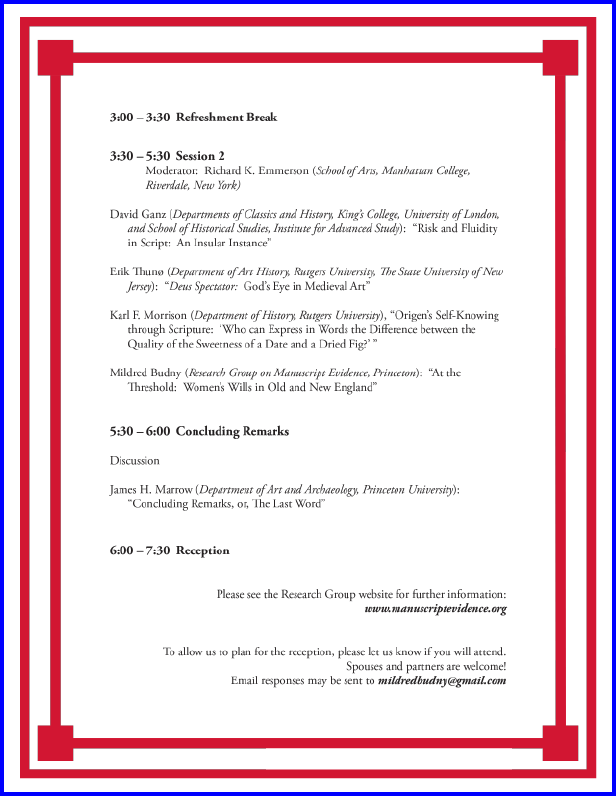 2009 Celebratory Anniversary Symposium Program, Page 2 of 2.