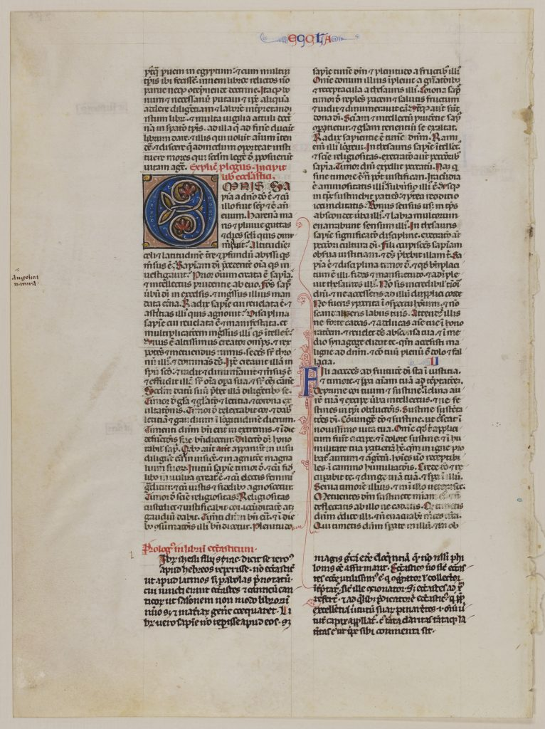 Special Collections and University Archives, Stony Brook University Libraries, Otto F. Ege: Fifty Original Leaves from Medieval Manuscripts, Leaf 19, 'recto'. Single leaf from Vulgate Bible, with part of the Old Testament. Public Domain.