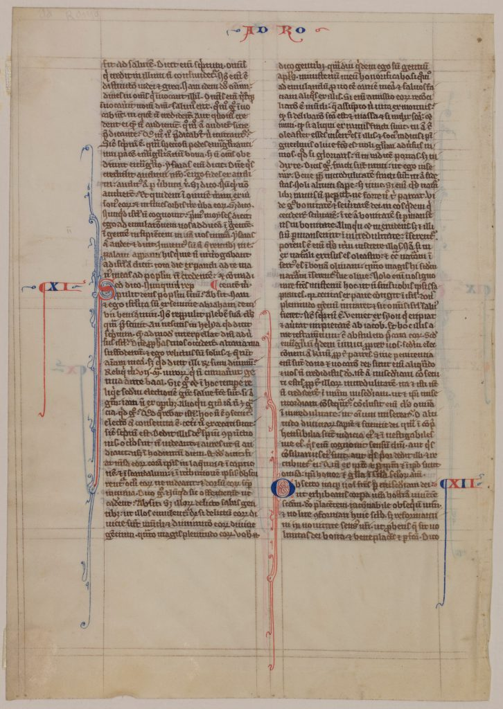 Special Collections and University Archives, Stony Brook University Libraries, Otto F. Ege: Fifty Original Leaves from Medieval Manuscripts, Leaf 13, 'recto'. Public Domain.