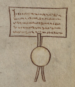 Cambridge, Corpus Christi College, MS 16, folio 43r.  Marginal illustration of the 'Charta de Foresta', with dependent seal.  Image courtesy Laura J. Whatley.