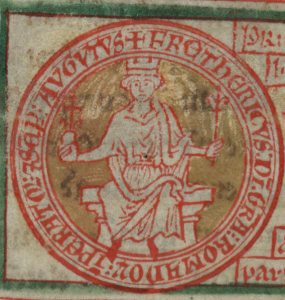 Imperial Seal of Frederick II.  Cambridge, Corpus Christi College, MS 16, folio 72v.  Image courtesy Laura Whatley.