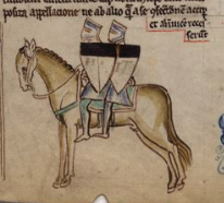 2 Templars on Horseback.  Cambridge, Corpus Christi College, MS 26, folio 110r.  Via Wikimedia Commons.
