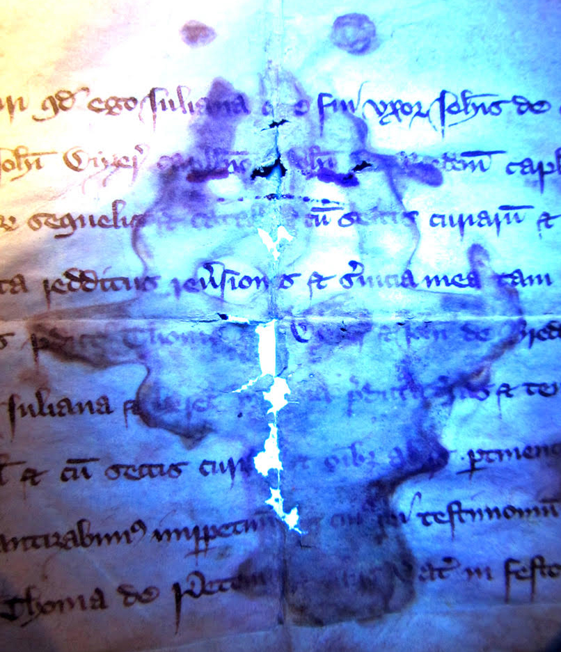 Charter 1: 6 Richard II Charter Face with black-lighting of water damage.