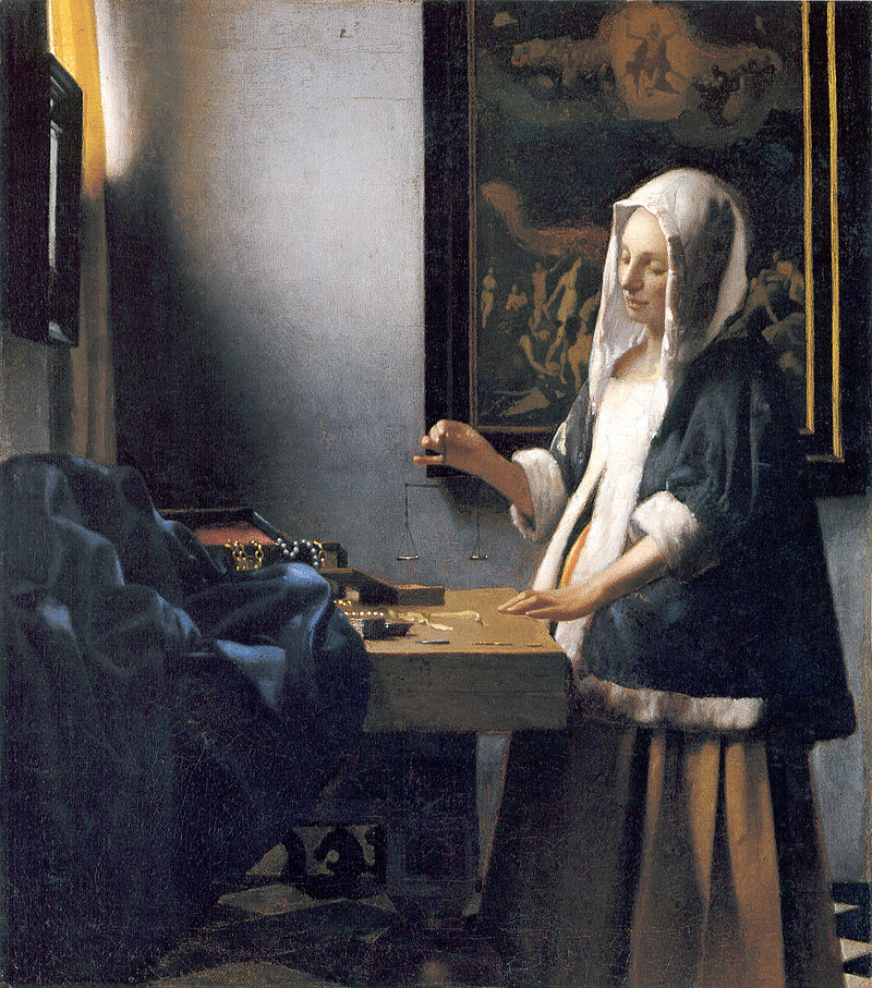 "Washington, D. C., National Gallery of Art. Jan Vermeer, ""The Pearl Merchant"" or ""Woman holding a Balance""(circa 1665). Image Public Domain via Wikimedia."