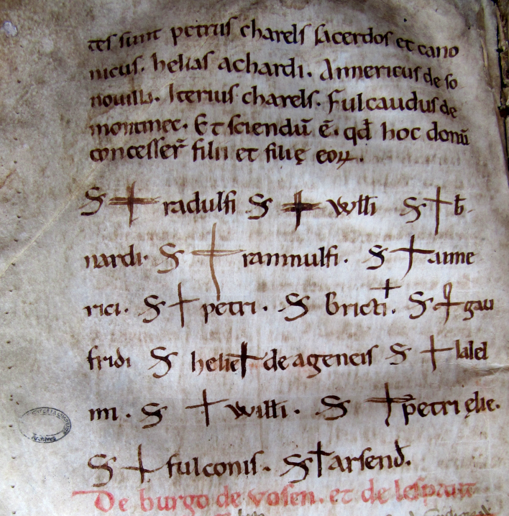 Angoulême, Archives départementales de la Charente G330, fol. 93v. An example of cross-signs made by actors and witnesses in the cartulary of the cathedral church of Angoulême between 1149 and 1159.
