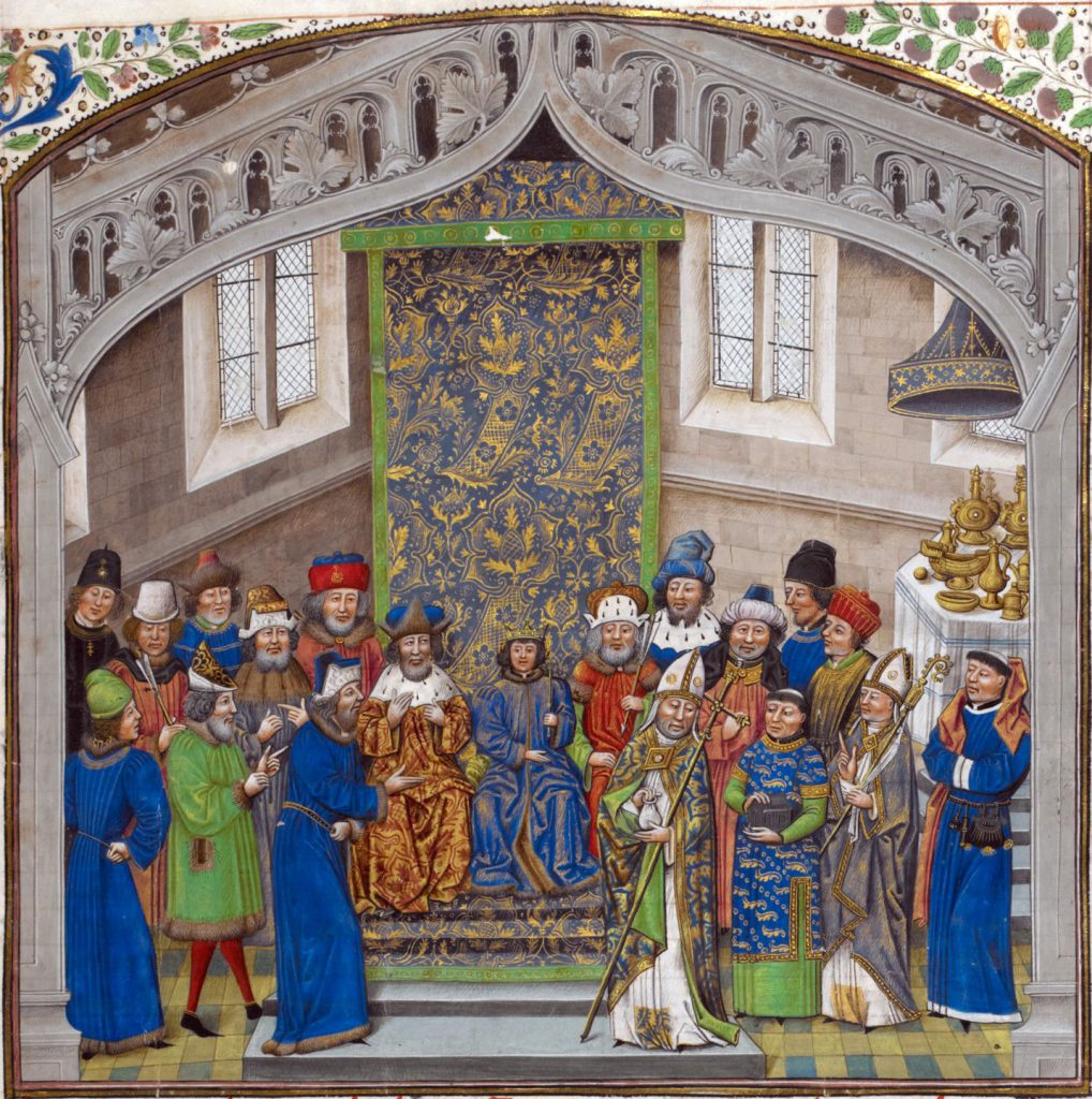 "London, British Library, Royal MS 14 E IV, folio 10 recto. ""Recueil des croniques"" by Jean de Wavrin. Coronation of Richard II at the age of 10 in 1377."