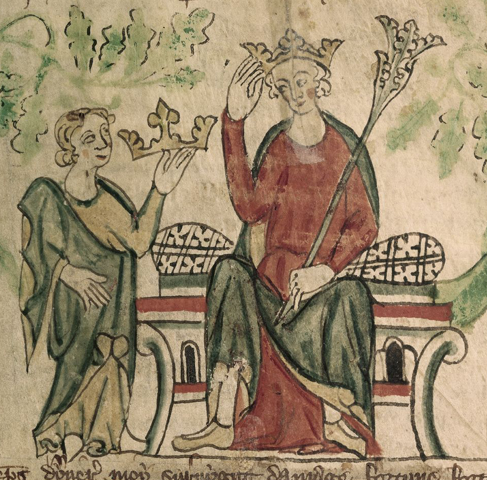 10r. Chronicle of England: Edward II receives his crown. Image Public Domain via Wikipedia.