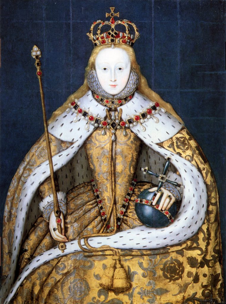London, National Portrait Gallery. Queen Elizabeth I of England in her coronation robes. between 1600 and 1610 copy of a lost original of circa 1559. Image via Wikimedia Commons.