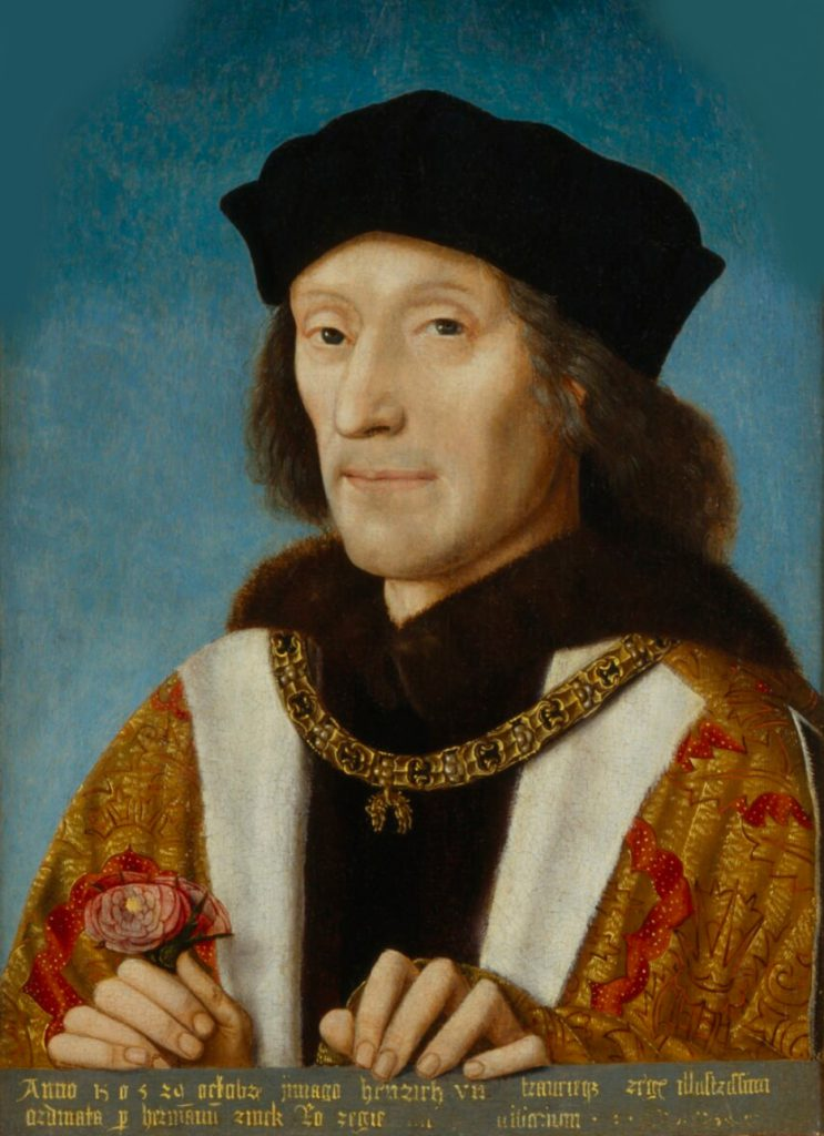 London, National Portrait Gallery, Portrait painted 29 October 1505. Henry VII wearing the Collar of the Order of the Golden Fleece and holding a rose.