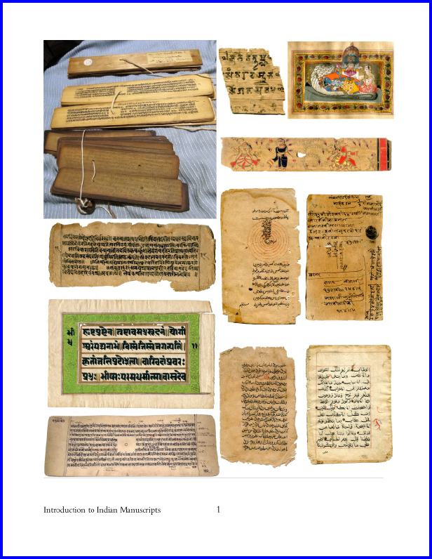 """Cover Page for Sorenson (2020 Spring Symposium Paper as Draft for Comment), with an array of illustrations and the title """"Introduction to Indian Manuscripts"""""""