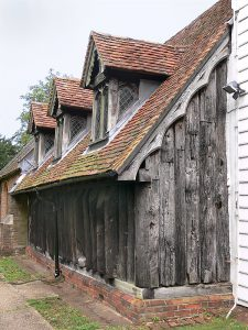 North Side of Wooden Church at Greensted-juxta-Ongar, Essex. Photograph by Simon Garbutt via Wikimedia Commons.