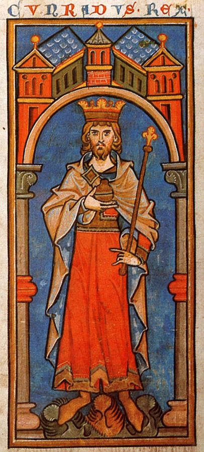 Miniature of Conrad III of Germany from Chronica Regia Coloniensis (Cologne Kings' Chronicle; Cologne; ca. 1240). Brussels, Bibliothèque Royale, Ms. 467, fol. 64v. Public Domain via Wikimedia Commons.