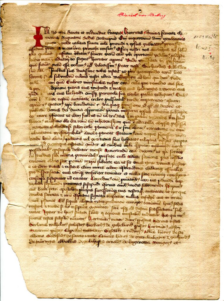 Private Collection, Selbold Cartulary Fragment, Folio 1 recto.