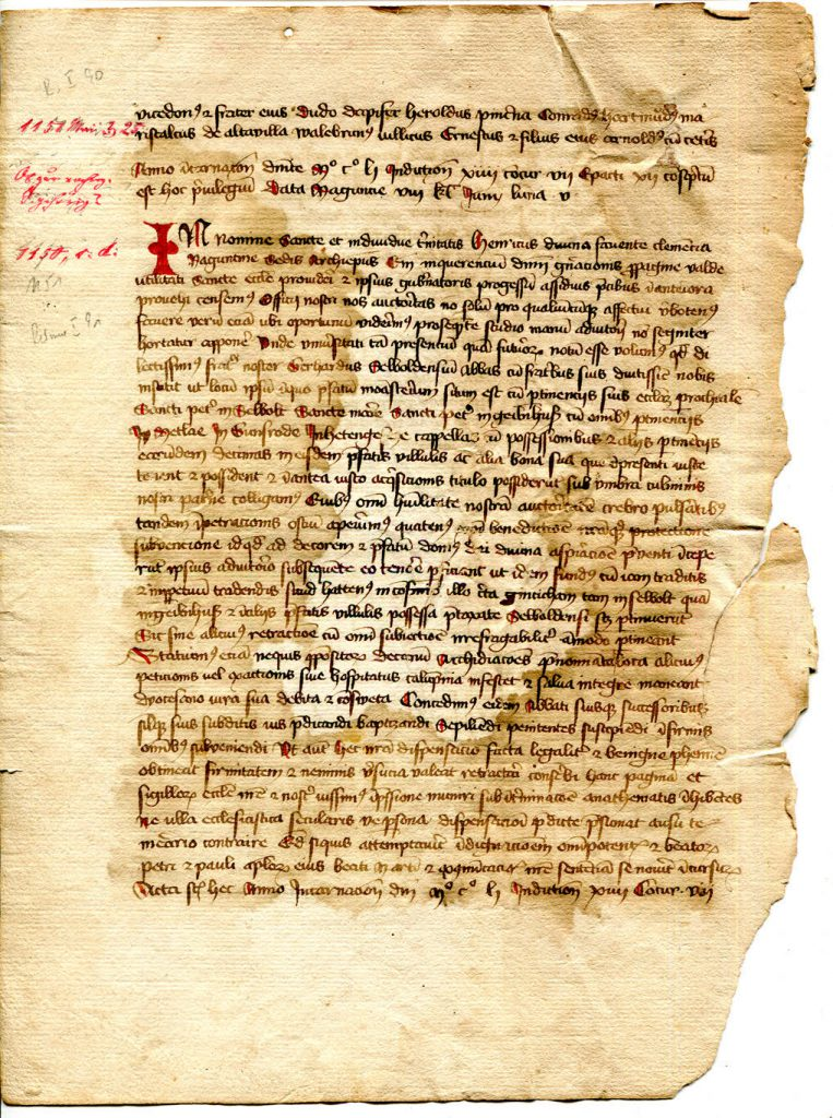 Private Collection, Selbold Cartulary Fragment, Folio 1 verso.