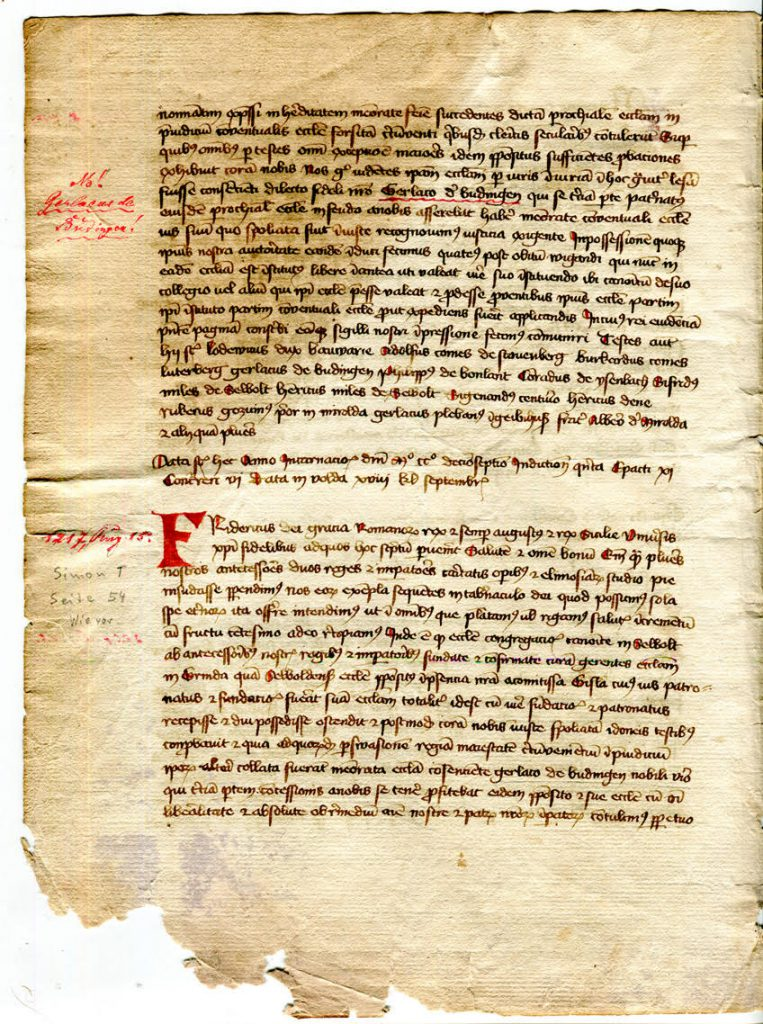 Private Collection, Selbold Cartulary Fragment, Folio 2 verso.