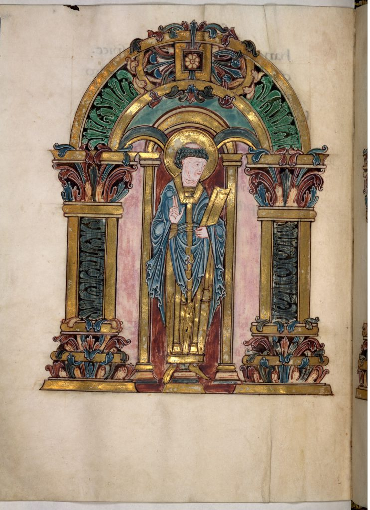 London, The British Library, Add MS 49598, folio 97v. Saint Swithin. Image Public Domain.