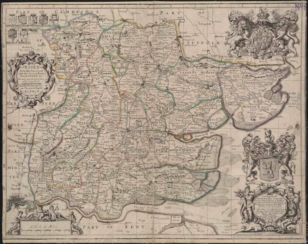 "Boston Public Library, Map of ""Essex actually surveyed with the several Roads from London, etc."" (London [1678]), Image via Public Domain."
