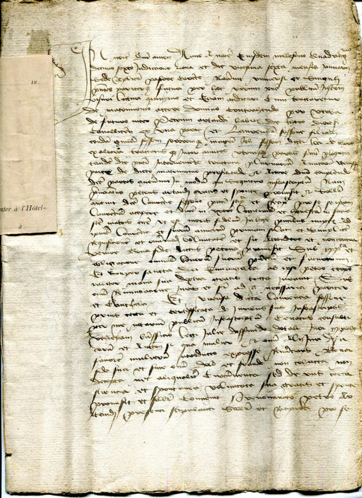 Private Collection, 1416 French Marriage Contract Page 1.