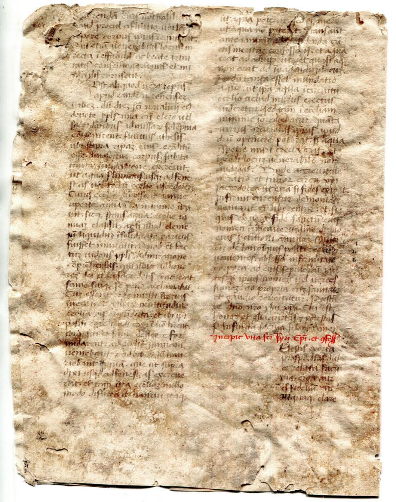 Private Collection, Page 4 of Bifolium from a mid-15th-century Latin copy of Saints Lives.