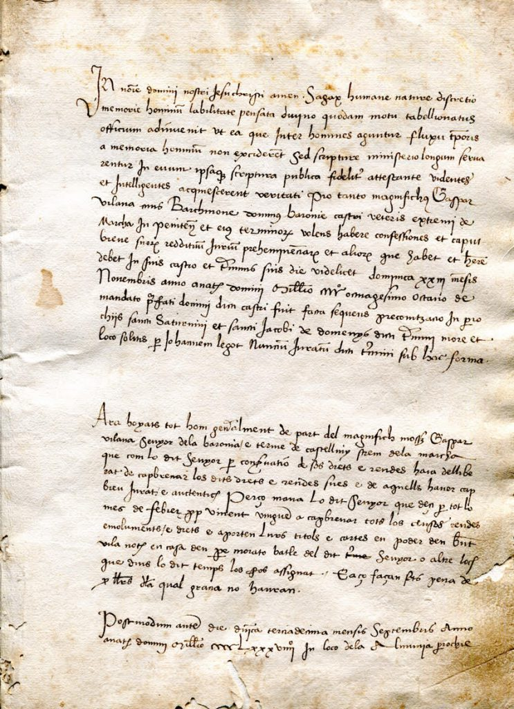 Private Collection, Castle Cartulary Fragment, Folio 1r / Page 1.