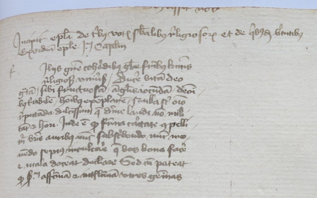 Private Collection, Le Parc Abbey Theological Volume, Part A, Section 2: Folio 93r, top.
