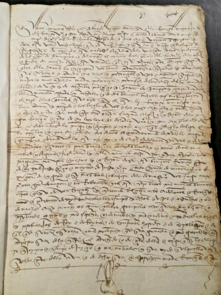 Private Collection, Sale Contract of December 1497 from Haro in Castile.