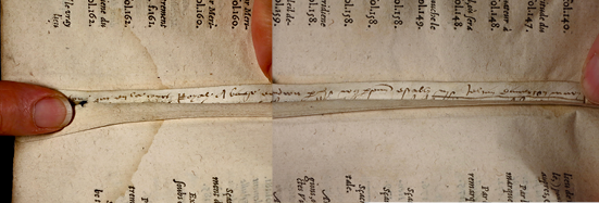 Smeltzer Collection, Henri de Suberville (1598), Vellum Supports Slip 1, Inner Stub, Text 'Rejoined'.