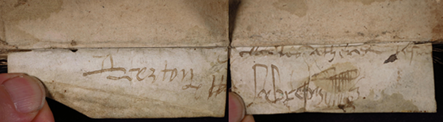 Smeltzer Collection, Henri de Suberville (1598), Vellum Support Slip 2, Outer Flap, Text 'Rejoined'.
