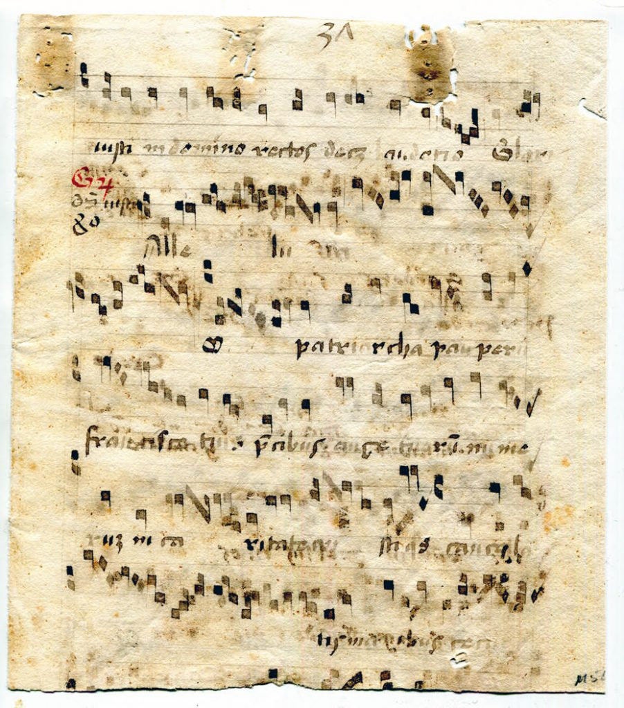Private Collection, Latin Liturgical Manuscript Fragment, Leaf of Text with musical notation: Recto.
