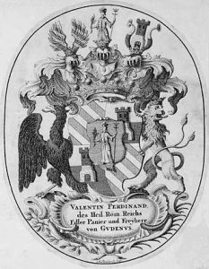 Exlibris (1732) of Valentin Ferdinand Freiherr von Gudenus (1679-1758). Image Public Domain via Wikimedia Commons.