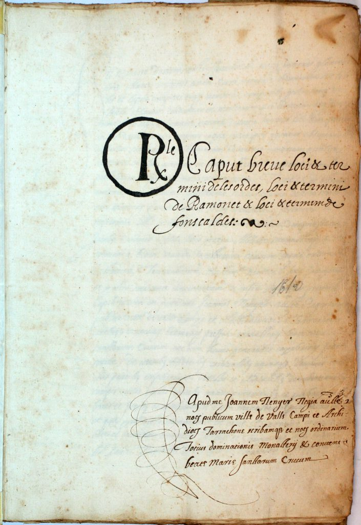 Capbreu dels llocs i termes de Ramonet, Les Ordes i Fontscaldes, dated 4 March 1616 - 29 August 1616. Image via Wikimedia Commons.