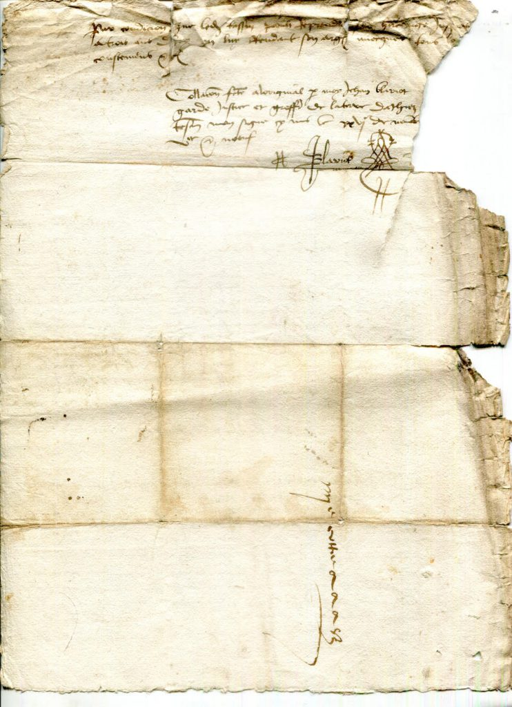 Private Collection, Single-Sheet Document recording 3 Land Purchases in Athis dated 1493 to 1509, Dorse.