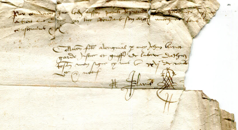 Private Collection, Single-Sheet Document recording 3 Land Purchases in Athis dated 1493 to 1509, Dorse: Top (Transaction 3 Ends, with Notary's Signature).