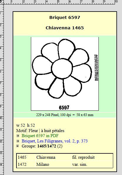 Briquet 6597 Flower with 8 Petals, via Briquet Online.
