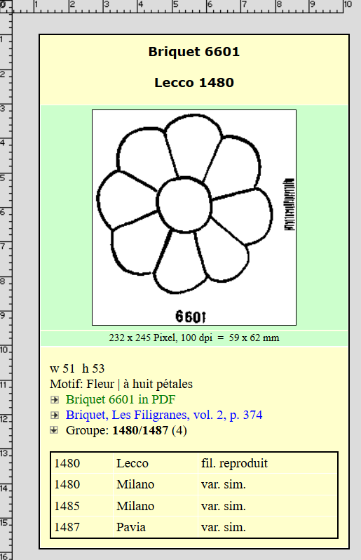 Briquet 6601 Flower with 8 Petals, via Briquet Online..