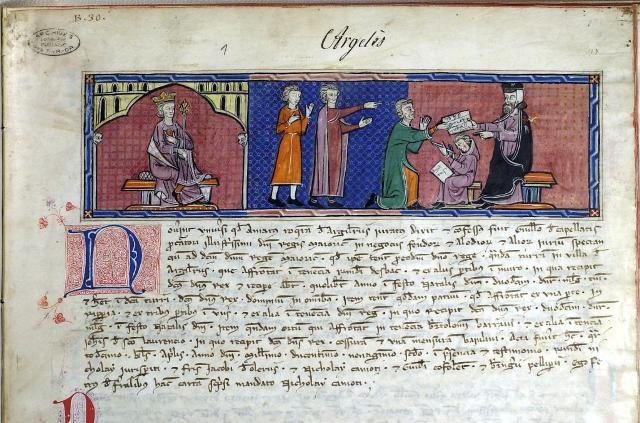 Capbreu d'Argeles (1292). Perpignan, Archives departementales des Pyrenees-Orientales (A.D.P.O.) 1 B 30, folio 1r, for Juane I, King of Majorca. Image in Public Domain, via Wikimedia Commons.