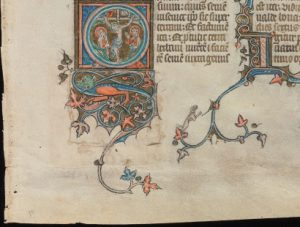 Beinecke Rare Book & Manuscript Library, Otto Ege Collection, MS 14, Genesis Opening Leaf: Recto, Detail of Patch.