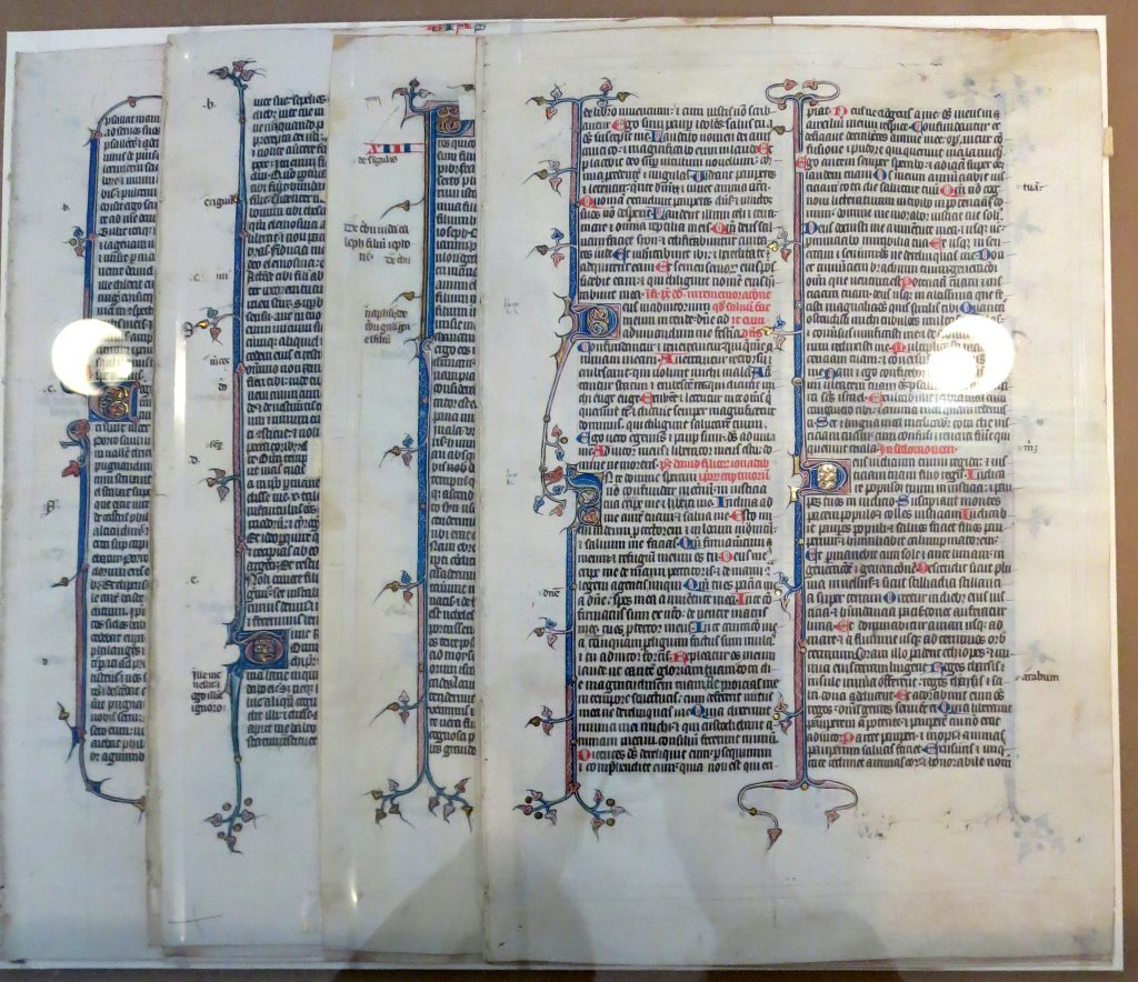 Beinecke Rare Book & Manuscript Library, Otto Ege Collection, MS 14 Segments, with recto for Psalms 68:28 - 71:14 on top.