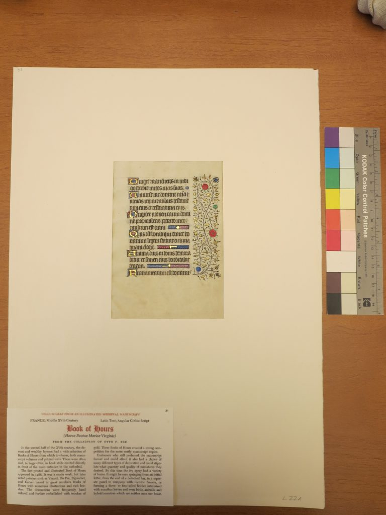 Beinecke Rare Book & Manuscript Library, Otto Ege Collection, Ege Family Portfolio, Leaf 31 in mat with label. Photograph Mildred Budny.