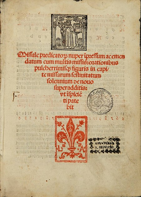 First page of the 'Missale predicatorum' (1504), printed by Lucantonio de Giunta in Venice. Image Public Domain via Wikimedia Commons.