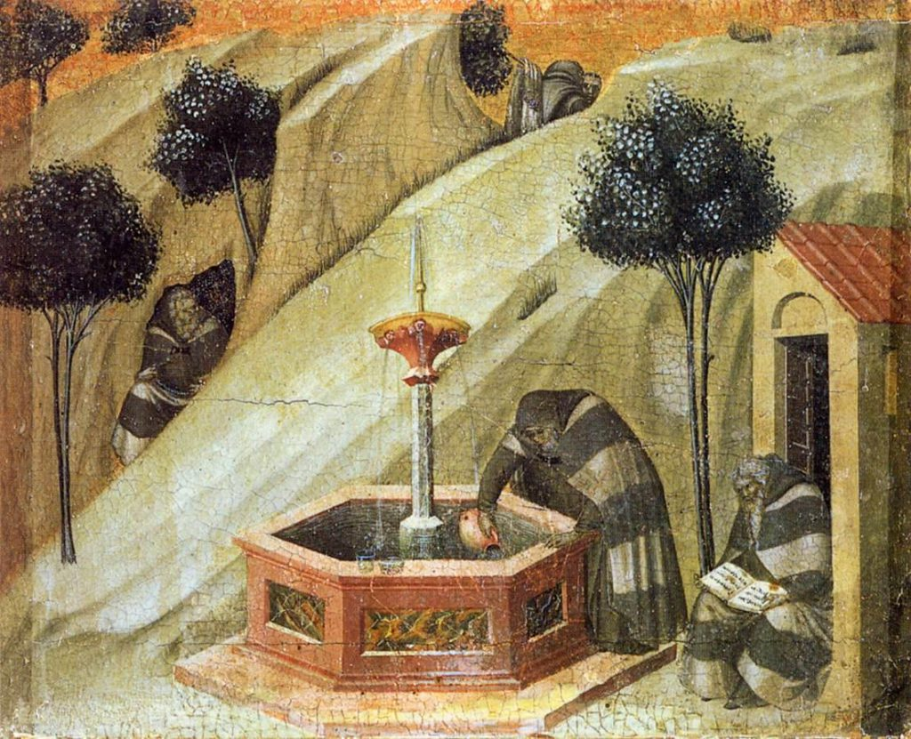 Pietro Lorenzetti, Predella panel. Carmelite Hermits at the Fountain of Elijah (1328-1329). Siena, Pinacoteca Nazionale di Siena. Image Public Domain, via Wikimedia Commons.