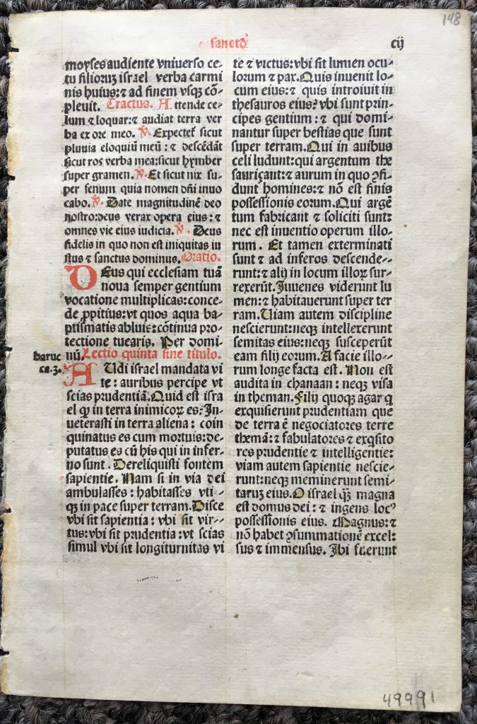J. S. Wagner Collection, Single Leaf from a Latin Missal containing part of the Mass for Holy Saturday for use in a Carmelite Monastery, printed in 1509 Lucantonio Giunta in Venice. Recto. Reproduced by Permission.